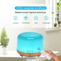 450ML 7 LED Remote Control Ultrasonic Air Humidifier Diffuser Essential Oil Mist