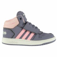 adidas Kids Girls Hoops Infant Mid Top Trainers High Padded Ankle Collar SIZE 4
