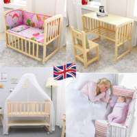 BABY Crib Bedside Cot Bed Wooden White Mattress Next to Me From Birth Cot