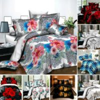 4 Piece Duvet Quilt Cover Fitted Sheet Pillowcases 3D Print Complete Bedding Set