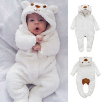 Newborn Baby Boy Girl Infant Bear Hooded Romper Jumpsuit Bodysuit Clothes Outfit