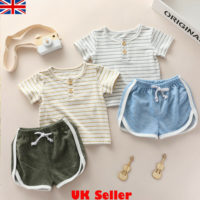 Toddler Kids Baby Boy Girl Stripe Tops T-shirt Pants Shorts Clothes Outfits Sets