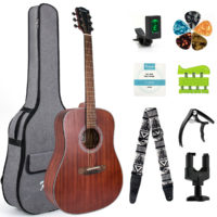 Kmise Acoustic Guitar 41 Inch Mahogany + String Capo Case Strap Tuner Hanger