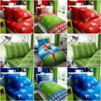 Kids Boys Football / Goal Red / Blue Duvet Cover Sets + PillowCover,Fitted Sheet