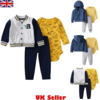 Toddler Baby Boys Kids Winter Clothes Romper Tops Pants Coat Jacket Outfits Set