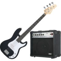 Bass Guitar Electric 4 Strings E-Bass Preci Style Pack Amplifier Combo 20W Black