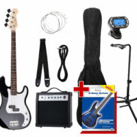 Electric Bass Guitar Black Preci PB-Style Pack Amp Combo Strap Bag Stand Tuner