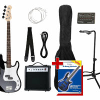 Electric Bass Guitar Black Preci PB-Style Set Amp Combo Strap Bag Stand Tuner