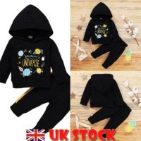 2PCS Newborn Baby Boys Tracksuit Hooded Sweatshirt Top Pants Clothes Outfits Set