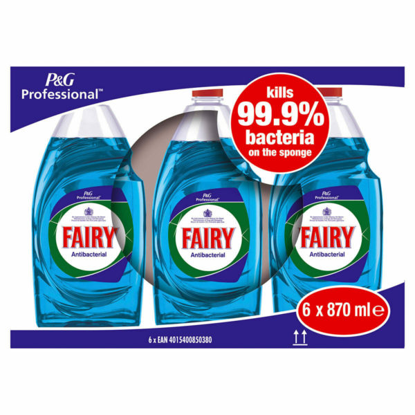 Fairy Anti-Bacterial Washing Up Liquid with Eucalyptus, 6 x 870ml