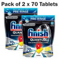Finish Powerball Quantum Ultimate Lemon Sparkle Dishwasher Pack of 2 x 70 Tabs