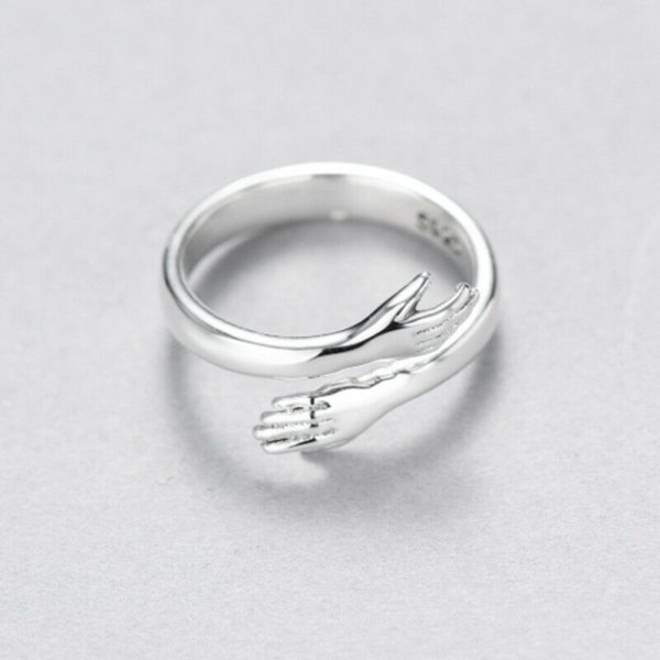 925 Sterling Silver Love Hug Ring Band Open Finger Fully Adjustable Jewelry D