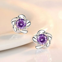 925 Sterling Silver Crystal Love Flower Earrings Stud Women's Girl's Jewellery