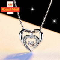 Double Heart Pendant 925 Sterling Silver Chain Necklace Womens Girls Jewellery D
