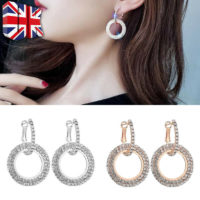 Fashion Bridal Jewellery Bling Crystal Round Hoop Earrings Womens Party Wedding*