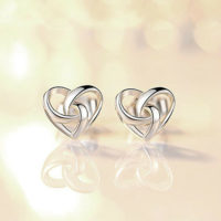 Women Lady Earrings 925 Sterling Silver Jewellery Gift Stunning Swirl Heart Stud