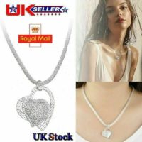 925 STERLING SILVER DOUBLE HEART PENDANT NECKLACE CHAIN JEWELLERY UK STOCK
