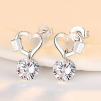 Butterfly Heart Crystal Drop Stud Earrings 925 Sterling Silver Womens Jewellery