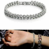 2PC Women Crystal Rhinestone Tennis Bracelet Bangle Wedding Wristband Jewelry
