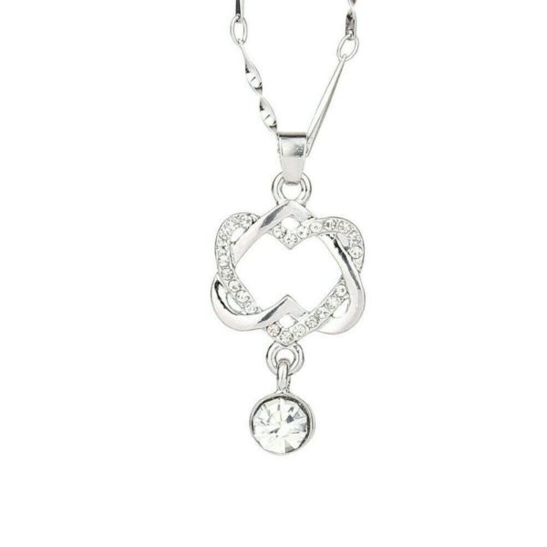 Cute 2 Heart Charm Pendant 925 Sterling Silver Chain Necklace Women Jewelry Gift