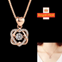 Rose Gold Heart Pendant 925 Sterling Silver Chain Necklace Ladies Jewellery Gift