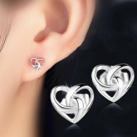 925 Sterling Silver Jewellery Gift Stunning Swirl Heart Stud Earrings Women Lady
