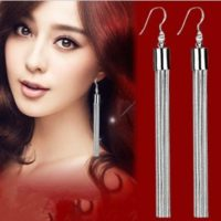 925 Sterling Silver Long Drop Dangle Tassel Earrings Ear Stud Jewelry Women UK