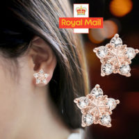 Snowflake Crystal Stud Earrings 925 Sterling Silver Womens Girls Jewellery Gift