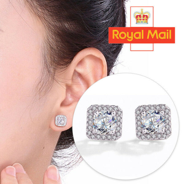 Crystal Square Stone Stud Earrings 925 Sterling Silver Womens Jewellery Gift A