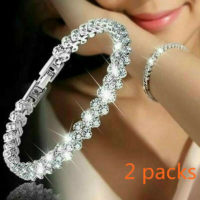 2X Women Crystal Rhinestone Tennis Bracelet Bangle Wedding Wristband Jewelry