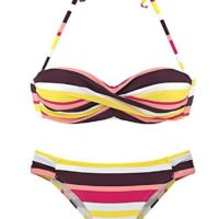 BNIP Women's Halterneck Striped Bandeau Twist Bikini Set - Yellow - Medium