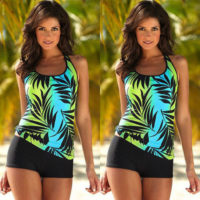 Plus Size Womens Floral Printed Tankini Bikini Set Swimsuit Bathing Swimwear