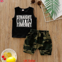 UK Newborn Baby Boys Summer Clothes Vest Tank Tops Camo Shorts Pants Outfits Set