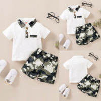 Newborn Baby Boy 2Pcs T-Shirt Tops+Camo Shorts Outfits Infant Summer Clothes Set