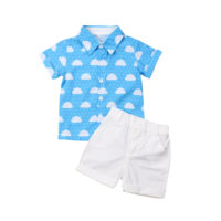 2pcs/Set Toddler Kids Boys Summer Clothes Cloud Shirt Tops+Shorts Outfits Party