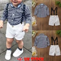 Toddler Kids Baby Boy Plaid Shirt Tops Short Pants Gentleman Outfits Clothes Set