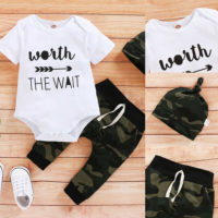 Baby Infant Boys Letter Tops Jumpsuit Camo Pants Hats Summer Clothes Outfits Set