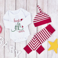 UK Newborn Baby Boy Girl Christmas Gift Clothes Romper Tops Pants Hat Outfit Set