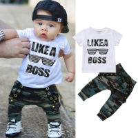 Newborn Toddler Baby Boy Short Sleeve Top T-shirt Camo Pants Outfits Clothes Set