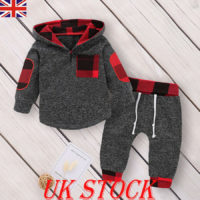 UK Baby Girls Boys Tracksuit Infant Hooded Tops Pants Warm Outfits Sets Clothes