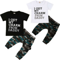 Toddler Baby Kids Boys Daddy Tops T-shirt Camo Pants Harem Outfits Set Clothes