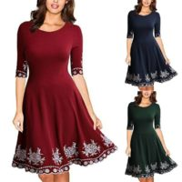 Womens Half Sleeve Swing Skater Dress Party Cocktail Flared A-line Mini Dresses