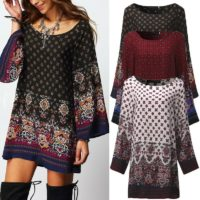 UK Women Floral Printed Long Sleeve Tunic Tops Casual Loose Mini Dress Plus Size