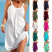 Womens Summer Holiday Beach Cover Up Ladies Casual Strappy Sundress Mini Dress