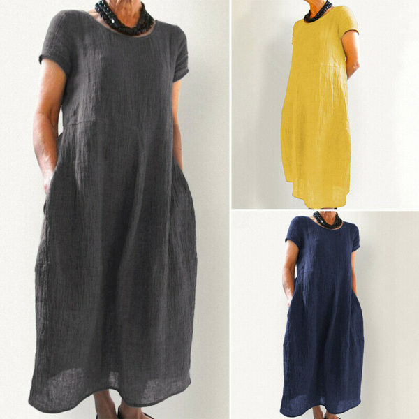 UK Women Short Sleeve Ladies Summer Long Shirt Kaftan Dress Dresses Size 8-24