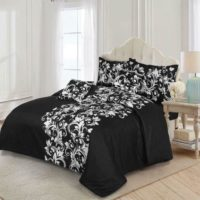 Black Floral Print Duvet Cover Bedding Set inc Fitted Sheet Single Double King