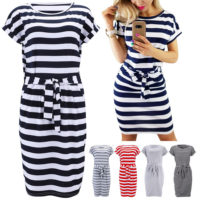Summer Women's Casual Striped Short Sleeve The Shirt Mini Dress with Pockets