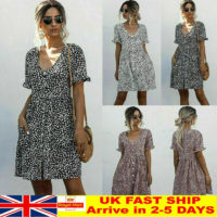 Womens Leopard Print Smock Dress Ladies Holiday Beach Casual Loose Sundress RD