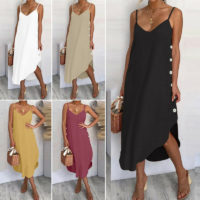 Womens Ladies Summer Beach Midi Dress Holiday Strappy Button Sun Dresses