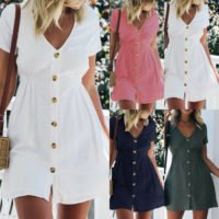 Womens Button Down V Neck Mini Tea Dress Summer Casual Shirt Sundress Plus Size